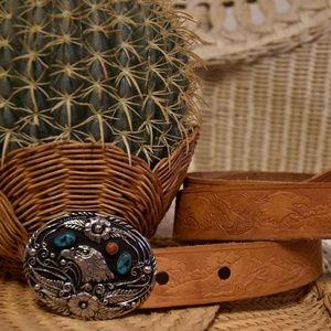VTG Turquoise & Eagle Themed Leather B…